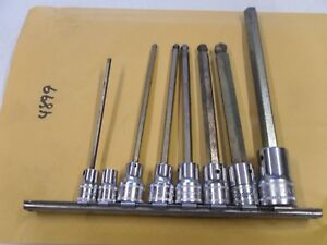 4899 Snap On Tools Hex Bit Socket Set 3 8 1 2 Drive 3mm 10mm Ball End Long