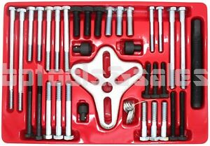 46pc Harmonic Balancer Gear Puller Steering Wheel Pulley Steel Yoke Washer Crank