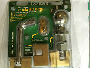 2 Locball Trailer Hitch Coupler Ball Pin Lock Security Towing Tow