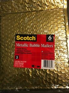 24 Lot Scotch Gold Metallic Bubble Mailers Padded Envelope Bags 8 5 11 25