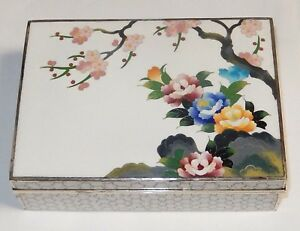 Large Inaba Floral Blossoms Cloisonne White Enamel Signed Box