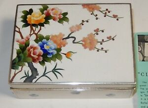 Inaba Floral Blossoms Cloisonne White Enamel Signed Box