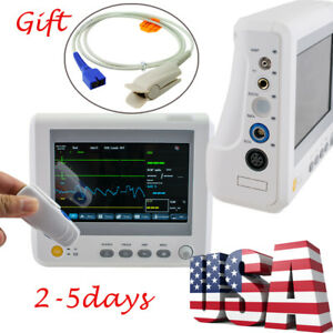 Us 7 Patient Monitor 6 Parameter Ccu Icu Monitoring Machine Adult Finger Clip
