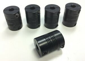 Lot Of 5 Motor Shaft Flexible Beam Coupler Coupling 0 25 Id 0 74 Od 1 0 L