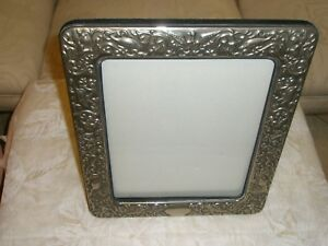 Vtg Large Heavily Repousse Silverplate Picture Frame Elves Birds Foliage 10x12