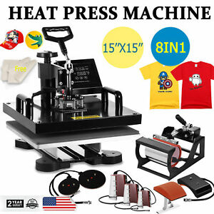 New 8in1 15 x15 T shirt Heat Press Transfer Printing Machine Digital Print Set