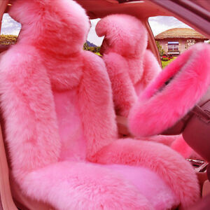Pink Wool Fur Car Seat Cover Steering Wheel Cover Gear Knob parking Brake Cover