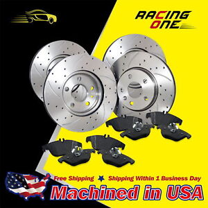 Front Rear Drilled Slotted Rotor Semi Metallic Pad Kit For 05 10 Ford Mustang