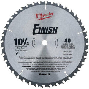 Milwaukee 48 40 4172 10 1 4 X 40 Tooth Carbide Circular Saw Blade New