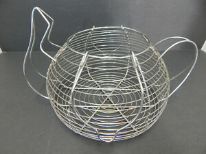 Vintage Primitive Metal Wire Egg Basket Farmhouse Decor