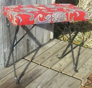 Vintage Antique Black Wrought Iron Piano Organ Bench W Red Paisley Upholstery