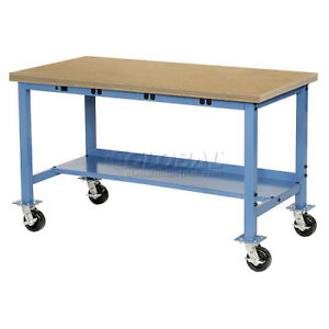 60 w X 30 d Mobile Production Workbench With Power Apron Shop Top Square Ed