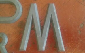 Vintage Foundry Pattern Letter M Lead Metal 3 5 By 1 4 Plaques Gate Sign Old