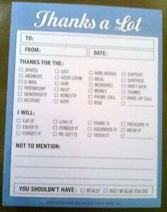 Funny Thanks A Lot Routing Slip Notes office Supplies humor new