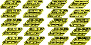 Diesel Fuel Only Sticker bulk 100 Pack Vehicle Decal Yellow Gas Tank Label