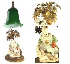 C1920 S Japanese Lamp With Satsuma Figure Gilt Metal Branches Green Shade