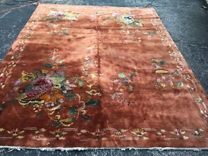 Antique Oriental Rug Chinese 9x12 Copper Art Deco Handmade Wool