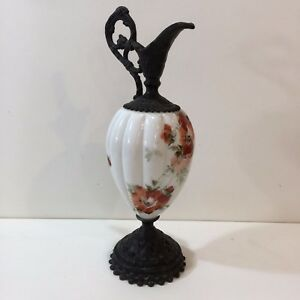 Antique Hand Painted Victorian Ewer White Floral Vase W Cast Iron Ornate 14 T