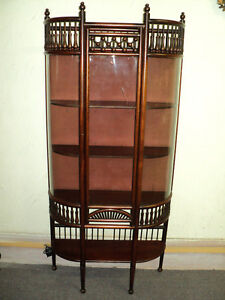 Antique Mahogany Stick And Ball Curved Glass Curio Cabinet