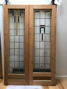 Vintage Mission Style Stain Glass Pine Wood Doors