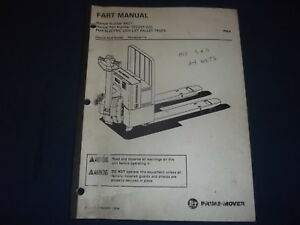 Prime Mover Pmx Electric Low Lift Pallet Truck Forklift Parts Manual Book 9401