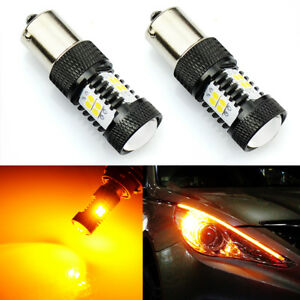 2x 14 smd Amber Yellow 1156 Ba15s Motorcycle Short Led Turn Signal Lights Bulbs