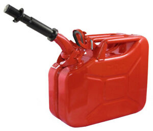 New Wavian 10 Liter Nato Military Steel Jerry Gas Fuel Can Red 3013