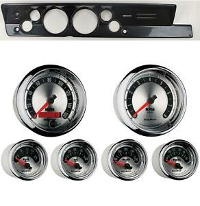 67 69 Barracuda Carbon Dash Carrier W Auto Meter 5 American Muscle Gauges