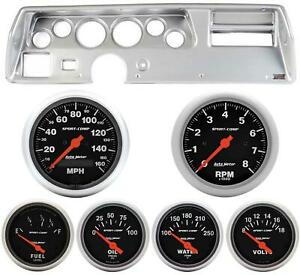 70 72 Chevelle Ss Silver Dash Carrier W Auto Meter Sport Comp Electric Gauges