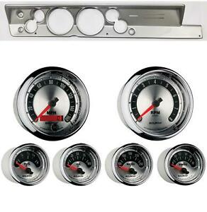 67 69 Barracuda Silver Dash Carrier W Auto Meter 5 American Muscle Gauges