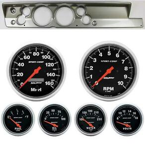 67 69 Barracuda Silver Dash Carrier W Auto Meter 5 Sport Comp Electric Gauges