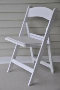 4 Commercial Folding Chairs Elegant White Party Holiday Chair W padded Seat