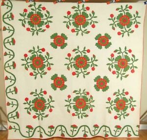 Xl Well Quilted 1850 S Red Green Cheddar Whig Rose Applique Antique Quilt