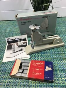 New In Box Vtg Swingline 13 Beige Metal Industrial Era Heavy Duty Steel Stapler