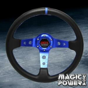Black 350mm Deep Dish 6 bolt Steering Wheel W Blue Stitching Fits Universal