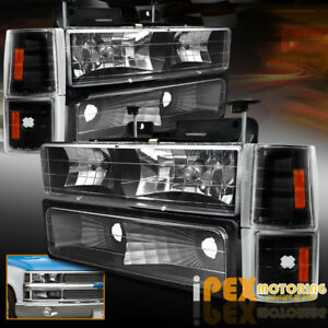 1994 1998 Gmc 1500 2500 3500 Sierra Yukon 8pc Black Headlights signals corner