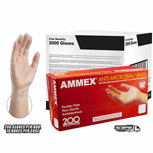 Ammex Clear Anti microbial Vinyl Latex Free Disposable Gloves case Of 2000