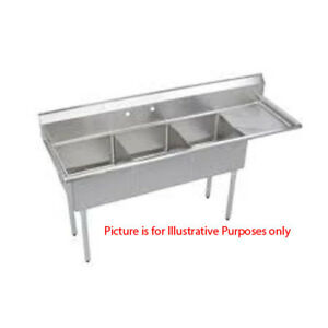 Three Compartment Nsf Commercial Sink With Right Drainboard Size Bowl 15 X 15