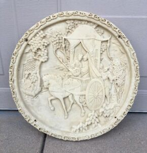 Vintage Chinese Carriage Horse Resin Bone Celluloid Medallion Table Top Piece