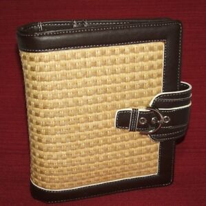Franklin Covey Brown Tan Woven Rattan String Compact Planner Binder Simulated