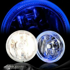 4 Blue Halo Drl Chrome Housing Bumper Fog Light Lamp Complete Kit Universal 6