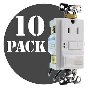 Hubbell Gfspst15wz Combo Gfci Outlet 1p Switch 15a 120v White 10 pack