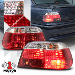 Chrome Housing Red Clear Lens Euro Tail Light Lamp For 95 01 Bmw E38 7 Series
