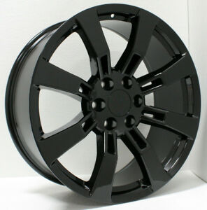 Gmc Gloss Black 22 Eight Spoke Wheels Rims For 2000 2018 Sierra Yukon Denali