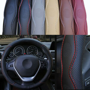 38cm Universal Car Steering Wheel Cover Pu Leather No Fade Black
