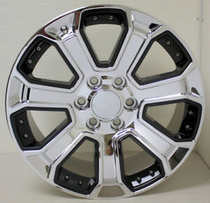 Chevy 20 Chrome With Black Insert Wheels Rims For Silverado Z71 Tahoe Suburban