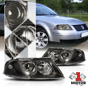 Black Housing Projector Headlight Clear Lens Replacement For 01 05 Vw Passat B5