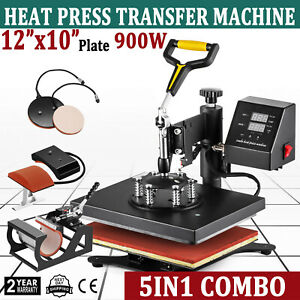 New 5 In 1 Digital Transfer Sublimation Heat Press Machine For T shirt 12x10 Usa