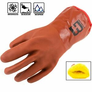 Bg Pvc Winter Gloves Chemical resistant Waterproof Lined Pvc bg12winter orange
