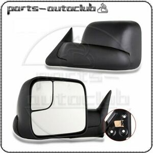 Left Right Manual Tow Flip Up Mirrors Set Fits 94 02 Dodge Ram 1500 2500 3500